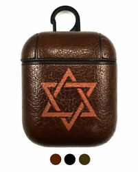 Apple AirPods Charging Case Leather Cover Magen Star Of David Jewish Israel #286