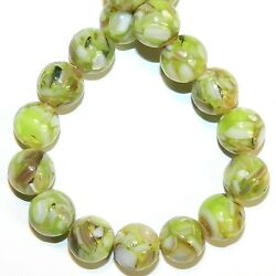MP732 Green 10mm Round Mother of Pearl Shell & Resin Gemstone Beads 16