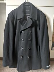 Men's Calvin Klein Black Wool Pea Coat Quilted Lining Size Small