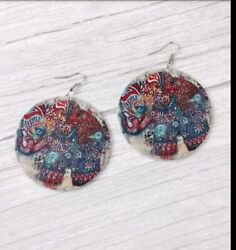 Elephant earrings Large Wooden Enamel Round circle dangle silver  lightweight