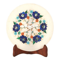 7'' Marble Serving Round Plate Lapis Floral Art Marquetry Work Inlay Decor H3582