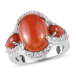 925 Sterling Silver Dyed Red Jade Cubic Zirconia CZ Statement Ring Size 9 Ct 9.5