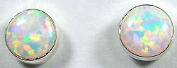 Round White Fire Opal 925 Sterling silver stud post earrings 5mm - Made in USA