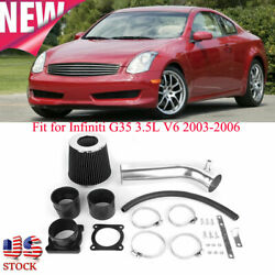 For Infiniti G35 3.5L V6 2003-2006 Aluminium Alloy Air Intake Pipe Kit + Filter