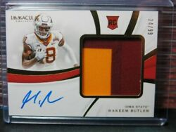 2019 Immaculate Collegiate Hakeem Butler Rookie Patch Auto Autograph #2499 LG
