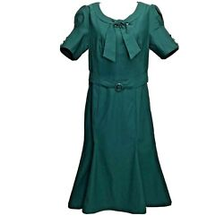 MUXXN Large Green Retro 1950s Style Short Sleeve Formal Mermaid Dress Pin up