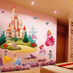Large Princess Castle Wall Stickers Colorful Vinyl Decal Girls Kids Bedroom Art $10.95