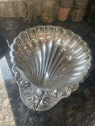 F. B. ROGERS SILVER CO. ANTIQUE SILVER PLATE CLAM SHELL SERVING DISH NO. 1730