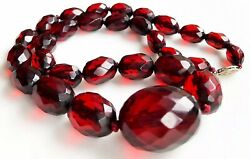 ANTIQUE CHERRY AMBER BAKELITE FACETED BEAD NECKLACE WITH 10K GOLD CLASP 34g 16""