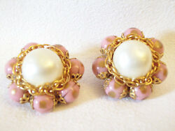 Pink Gold Fluss Bead Earrings Baroque Pearl Cluster Clip Chain Vintage Estate