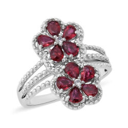 925 Sterling Silver Red Sapphire Cubic Zirconia CZ Flower Ring Size 9 Ct 2