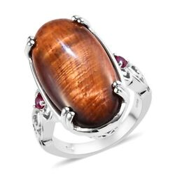 Red Tiger Eye Ruby Cubic Zirconia CZ Cocktail Ring Jewelry Size 9 Ct 22.7