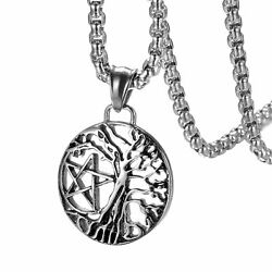 Stainless Steel Tree of Life Pentacle Wicca Pentagram Star Pendant Necklace Men