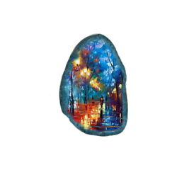 Color Printing oil painting Agate Gemstone Pendant Necklace H1903 0649