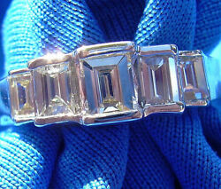 Vintage Antique Diamond Wedding Band Deco Emerald cut Anniversary Eternity Ring