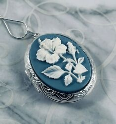 HIBISCUS FLOWER Wedgwood Blue color CAMEO LOCKET NECKLACE 925 Silver pltd Chain