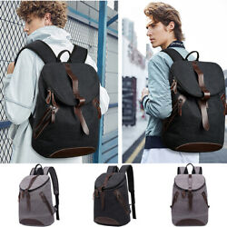 Women Men Canvas Leather Travel Backpack Rucksack Laptop Bookbag School Bag
