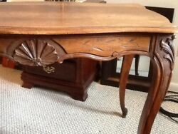 GREAT ANTIQUE FRENCH TABLE AMERICAN MADE CHESTNUT TOP WALNUT BASE CARVED SHELL $360.00