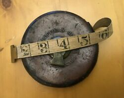 Vintage Chesterman Sheffield England Leather and Brass 50 Foot Tape Measure T-14