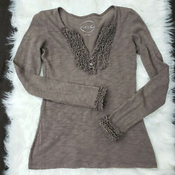 INC International Concept Size Small Women's Top Knit Ruffle Cotton Tan Brown