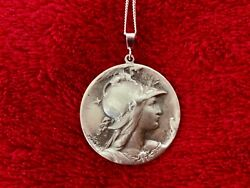 Sterling silver large Liberty Marianne 18quot; pendant vintage charm necklace $154.95