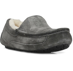 Ugg Australia Mens Charcoal Gray Ascot Suede Slippers