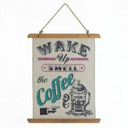 Kitchen Wall Hanging for Coffee Lovers Coffee Perk Up Linen Wall Art $18.99