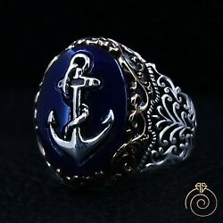 Sailor Anchor Sapphire Cocktail Men Ring Vintage Silver Navy Engagement Jewelry $106.00