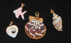 Lot 4 Sea Shell Necklace Pendants Heart Fish gold trim bail beach nautical