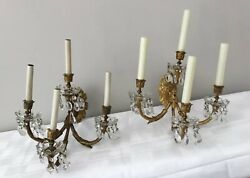 Antique Gilt Bronze Crystal Beaded French Chandelier Wall Sconces Pair 4 Light $2000.00