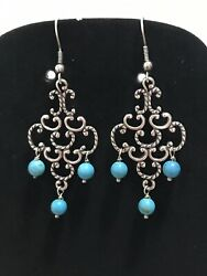 CAROLYN POLLACK Relios Turquoise Chandelier Earrings Sterling Silver 2.5quot; Drop $69.00