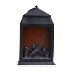 Home Decor Black Fireplace LED Lantern Desk Table Lamp 2xC Batteries Required