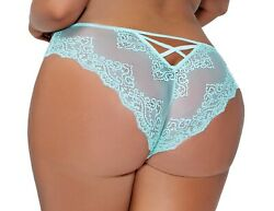 Plus Size Sexy Mesh and Lace Bikini Panties With Strappy Back Cutout 986X MNT $7.99