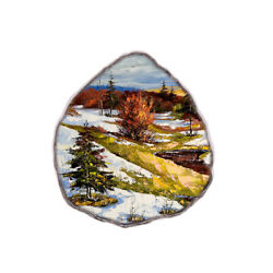Color Printing oil painting Agate Gemstone Pendant Necklace H1908 0171
