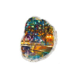 Color Printing oil painting Agate Gemstone Pendant Necklace H1903 1014