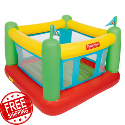 Kids Inflatable Bounce House w Built-in Pump 188 lb Capacity Indoor Play Ground