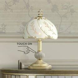 Traditional Accent Table Lamp Polished Brass Touch On Off Floral for Bedroom $29.99