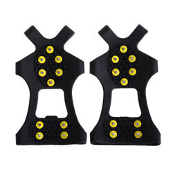 10 Stud Universal Ice No Slip Snow Shoe Spikes Grips Cleats Crampons L #Z C $11.36