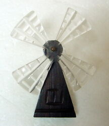 Vtg 1940s Hand Carved Lucite Wood Mechanical WINDMILL Brooch Pin Kinetic Spins!
