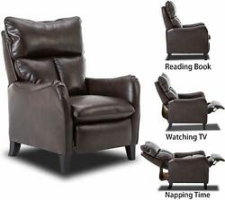 Push Back Recliner Chair PU Leather Wood Legs Reclining Traditional Furniture
