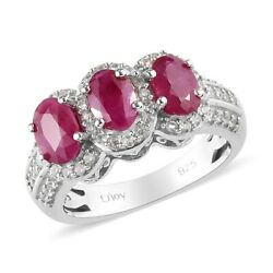 925 Sterling Silver Ruby Cubic Zirconia CZ 3 Stone Ring Jewelry Size 9 Ct 2.2
