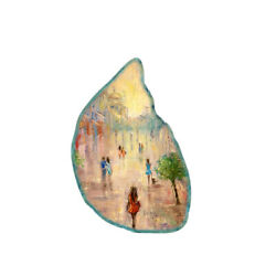 Color Printing oil painting Agate Gemstone Pendant Necklace H1907 0869