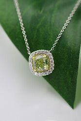 2.26 CARAT FANCY GREEN PENDANT ON 18 INCH DIAMOND BY YARD CHAIN 18 karat Gold