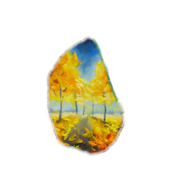 Color Printing painting Agate Gemstone Pendant Necklace H1907 0981
