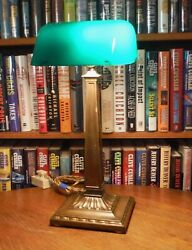 Antique Emeralite Desk Lamp Green Cased Shade #8734 beautiful brass patina
