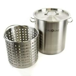 Turkey Frying Pot 32 Qt. Stock Stainless Steel Strainer Basket Handle Sturdy NEW