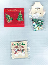 Costume Jewelry - 3 Christmas Clip Earrings & Pin Sets- New with Tags