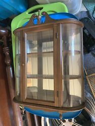 Vintage Butler Curved Glass Curio Case Wall Shelf Cabinet