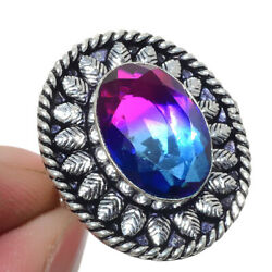Bi-Color Tourmaline 925 Sterling Silver Jewelry Ring Size-7.5 7820