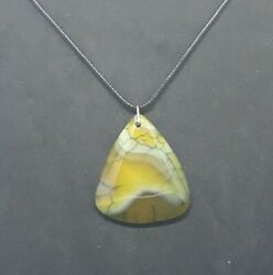 Green & Yellow Dragon Veins Agate Triangle Pendant Necklace